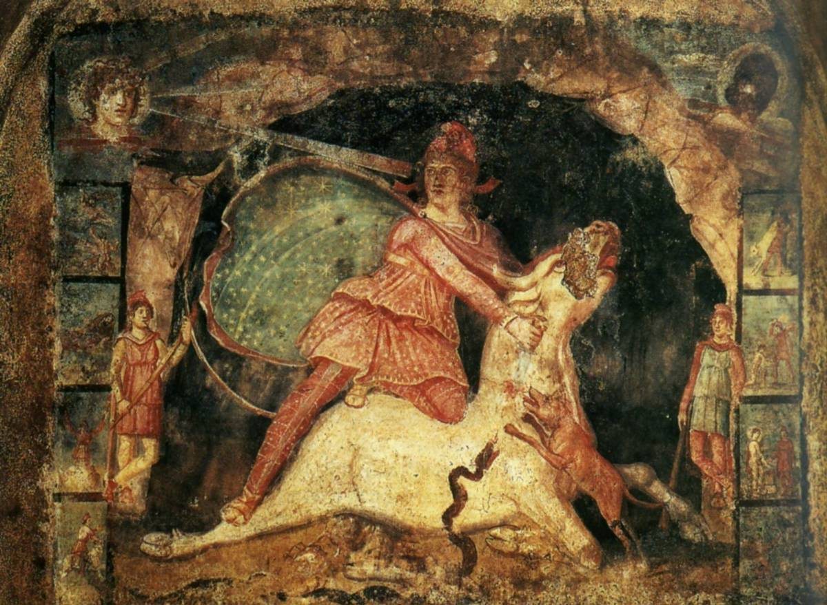 Mithra cuts the throat of the bull, Mural, Marino