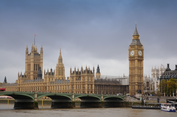 House of Parlament and Westminster Bridge spanning the river Thames